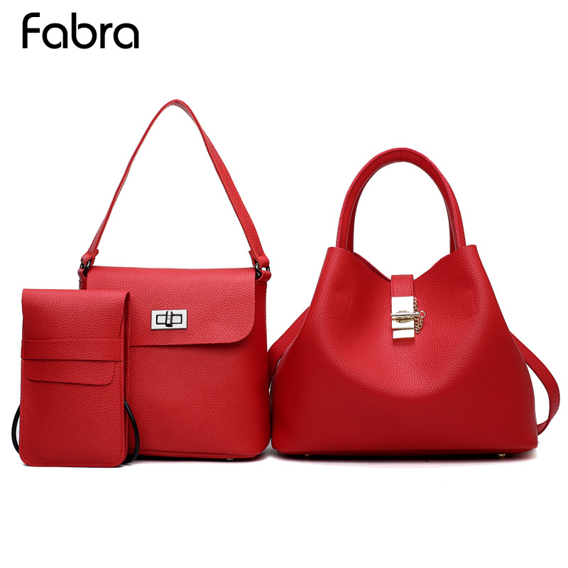 Fabra 3 PCS/Set Red PU Leather Handbags Women Messenger Bag Brands Tote Composite Bag Shoulder Crossbody Bags Small Phone Bag 2 pcs set red pu leather handbags women bag set famous brands shoulder bag lady top handle bags evenging clutch bag womens pouch