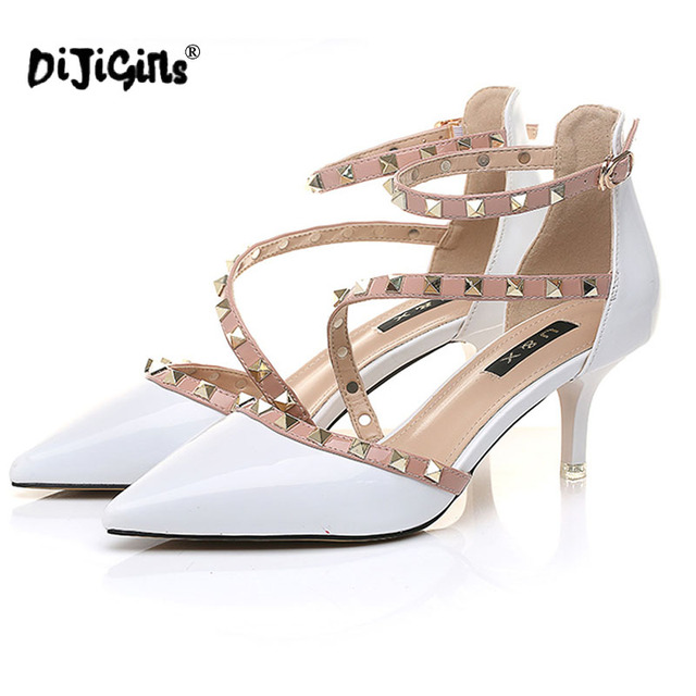 DIJIGIRLS NEW woman High heels shoes Ladies Sexy Pointed Toe pumps Buckle rivets nude heels dress wedding shoes Dropshipping