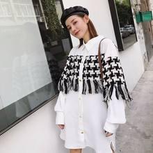 d0e5ccf86d Limiguyue borla tweed patchwork vintage chic mulheres camisa de vestido de  manga longa outono branco turn