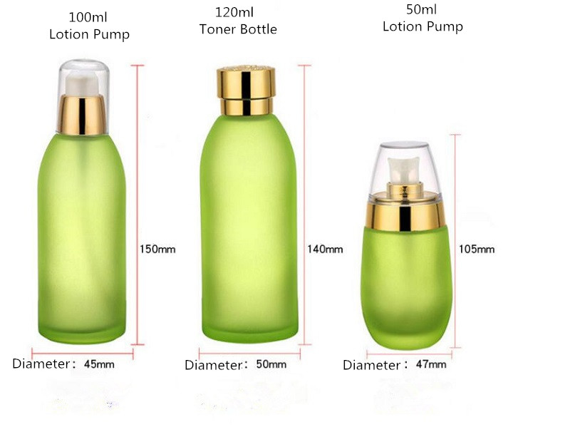 Skin Toner Suit Empty Bottle Silver Gold Carved lid Green Emulsion Bottle Glass Cream Lotion Pump 30ml 50ml 120ml 30g 50g (7)