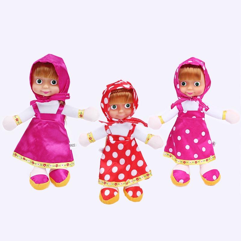 2017 New masa bear  Dolls Movie Russian masa bear  Plush Toys Children's Toys Birthday Gifts reborn babies