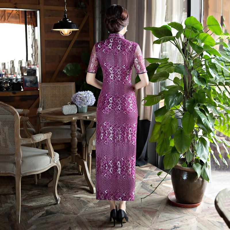 Longues Cheongsam Femmes Sexy Dentelle Qipao Chinois Traditionnel - Vêtements nationaux - Photo 5