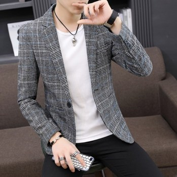 Korean Style Casual Plaid Blazer Men Plus Size Mens Long Sleeve Blazers Jacket Homm Spring Autumn Men Striped Blazer Hombre 2019 цена 2017