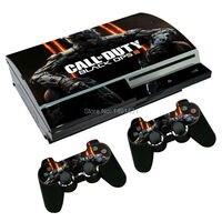 OSTSTICKER hot selling black 3 vinyl skin sticker for PS3 console +2 pcs controller