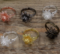 new 20pcs 16mm filigree pad  ring setting base adjustable  for handmake jewelry materials---6 colors option