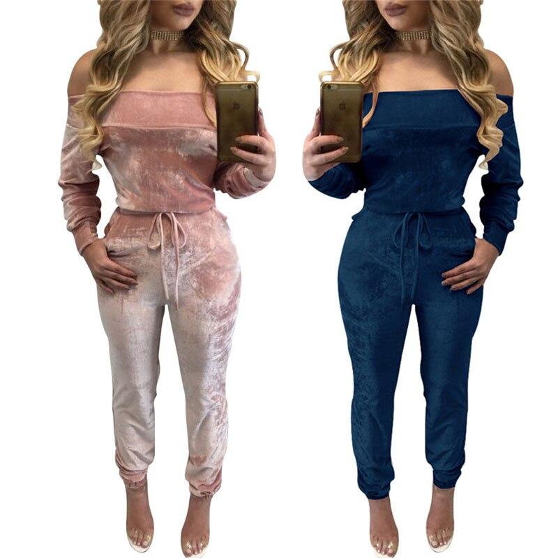 hot sale online 2fa4c 122eb Elegant Off Shoulder Velvet Jumpsuit Women Bandage Overalls ...