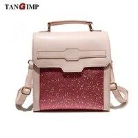 TANGIMP Fashion Sequin Backpacks For Girls Small Leather Female Backpack Cute Pink Shoulder Bag Elegant Mini