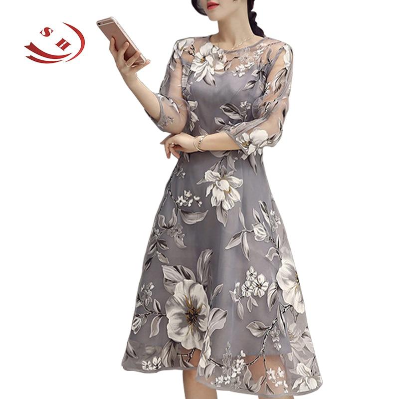 Quarter length sleeve women summer dresses