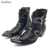 Новинка; мужские ботильоны из натуральной кожи в стиле панк; мужские ковбойские ботинки в стиле милитари с острым носком на шнуровке; высоки