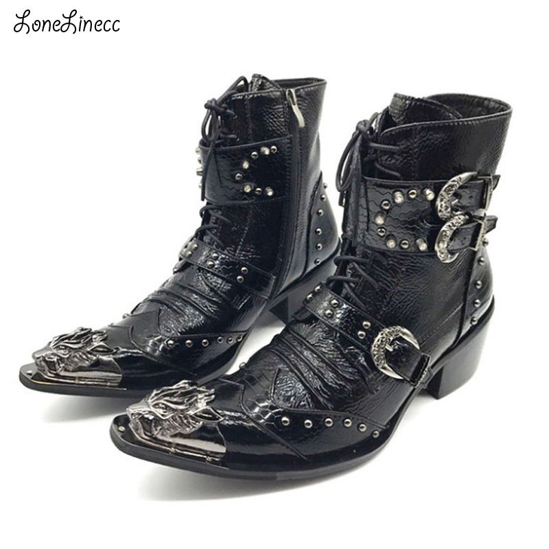 US $87.75 35% OFF| : Buy New Punk Style Genuine Leather Men Ankle Boots Iron Pointed Toe Lace Up Mens Military Cowboy Boots High Top