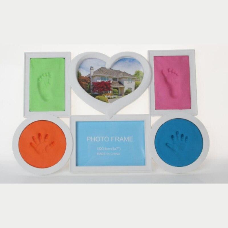Lindo lindo del bebé marco de fotos 7 Color DIY Footprint Handprint ...
