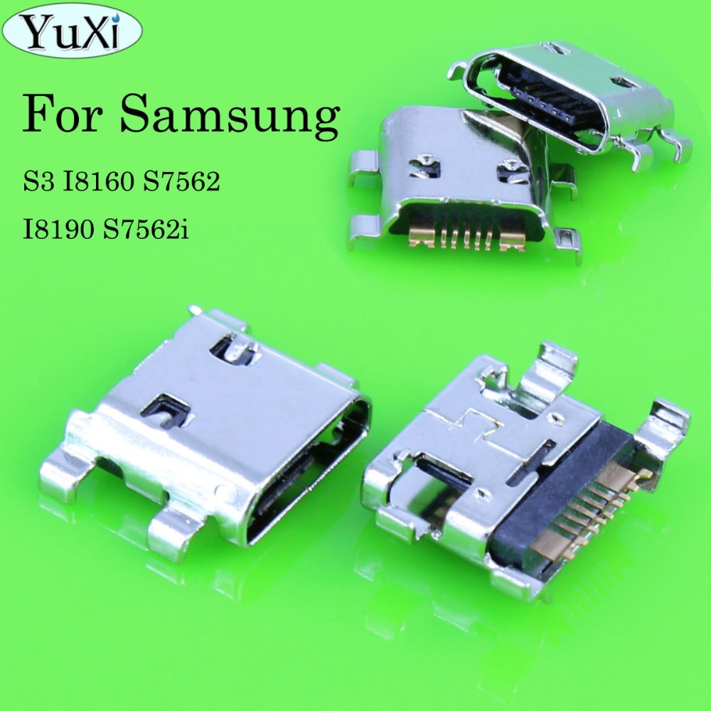 YuXi 5 Feet mini Micro USB connector charge socket jack for Samsung Galaxy S3 I8160 S7560 P5200 i9200 S7562 GT-S7562 I8190 ,7Pin image