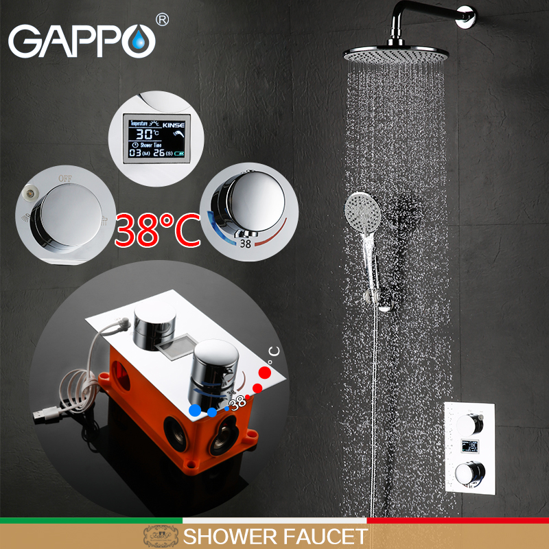 GAPPO shower faucet thermostatic mixer tap LCD Digital Display bath faucet mixer hand shower Wall Mount
