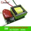 5*1 W AC110/220 V LLEVÓ Regulable Conductor, corriente Constante 300Ma transformador, fuente de alimentación para lámpara E27 E14 GU10 regulable bricolaje