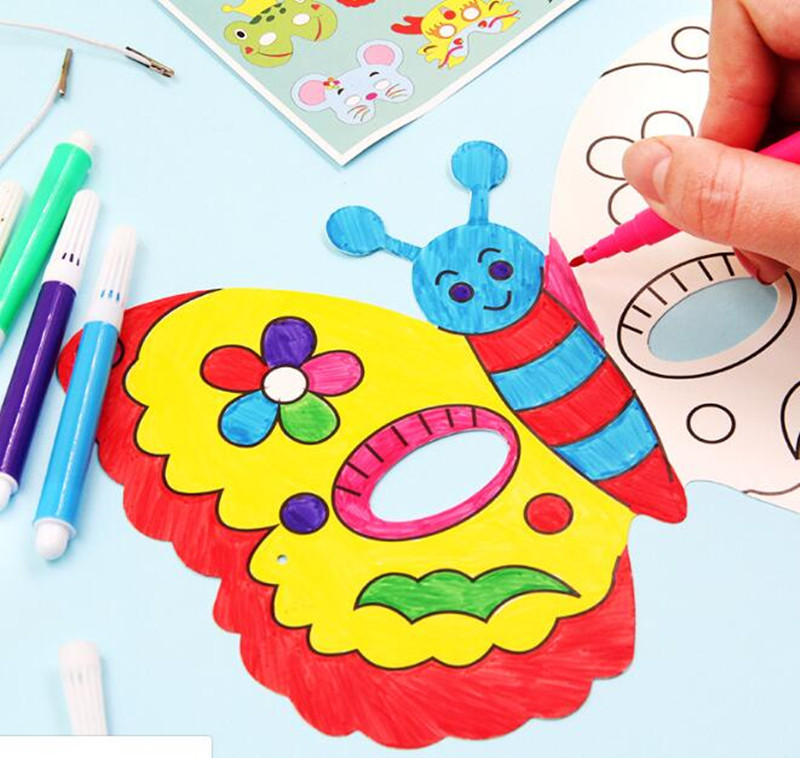 Happyxuan 2 Packs (16 Designs) Kids DIY Graffiti Masks For Coloring Painting Kindergarten Art Craft Material Kit Drawing Toys