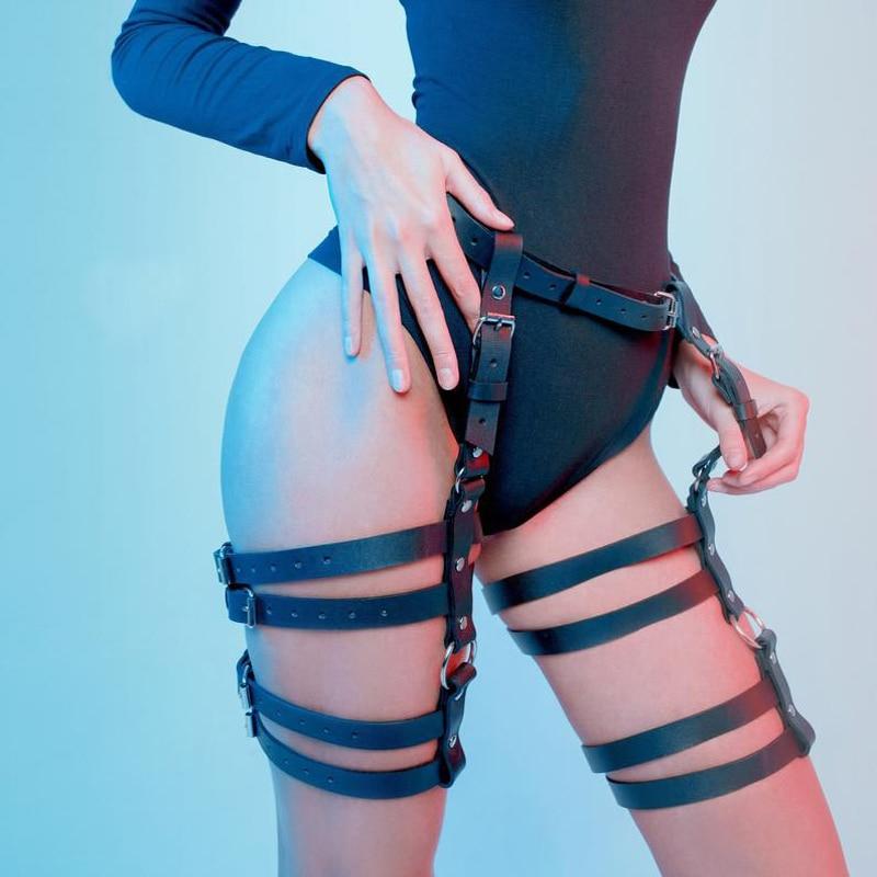 WKY Leather Garter Harness Belt Straps Fashion Punk Underwear Bondage For Female Thigh Garter Harajuku Waist Stocking Suspenders