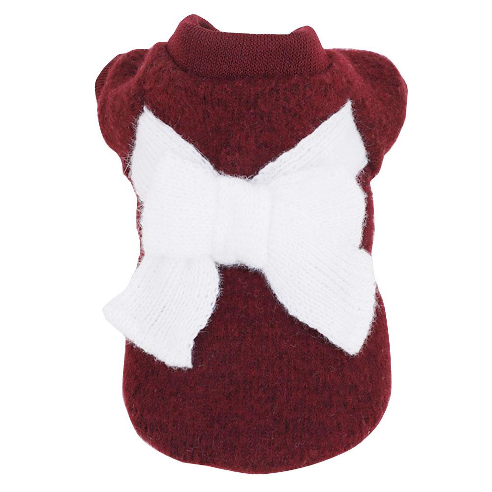 Вязаный свитер костюм свитер для кота с бантом 3 цвета пальто щенок Милая Одежда для собак ropa para perro - Цвет: 4