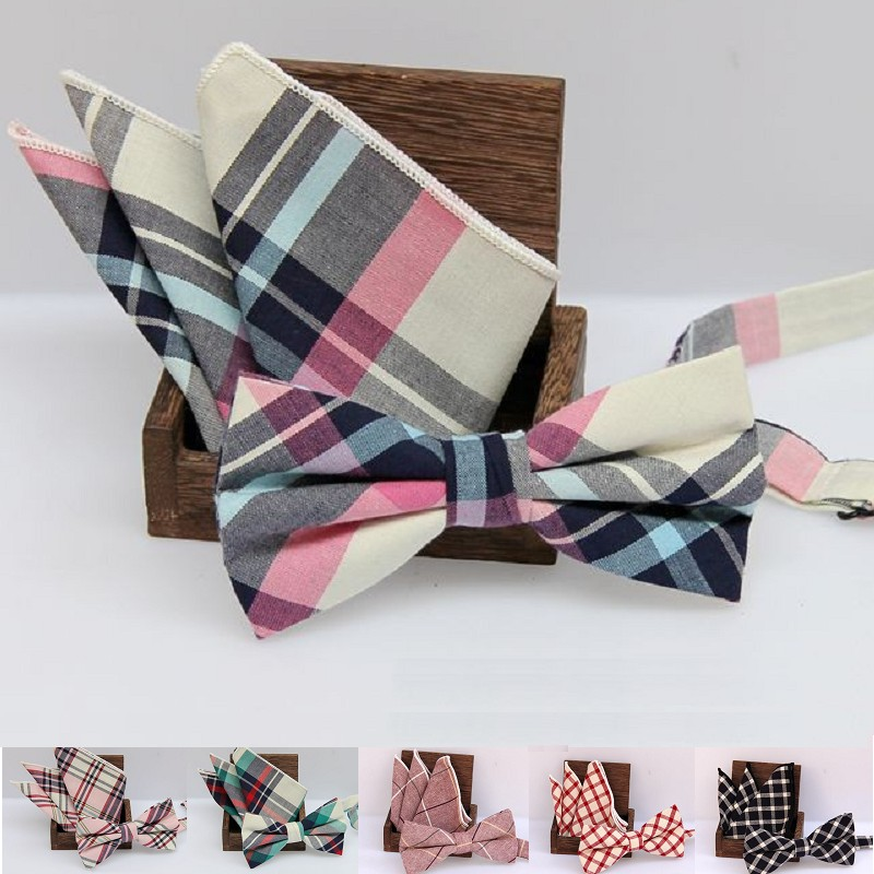 Men's Bow Tie Handkerchief Set Check Bowknot Classic Cotton Jacquard Woven Men Butterfly BowTie Pocket Square Hanky Suits