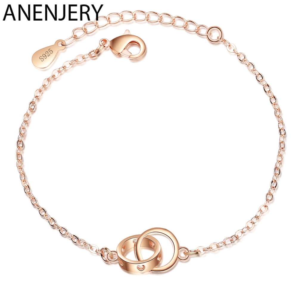 Anenjery Hollow Heart Double Circle Interlock 925 Sterling Silver Bracelet For Women Rose Gold Color Silver 925 Jewelry S-B235