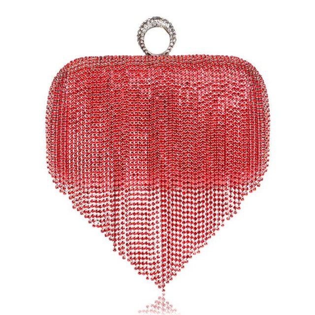 Hot 2017 Tassel Diamond Evening Bags Gold Black Silver Day Clutch Knuckle Rings Evening Clutch Red Wedding Purse Clutches w860
