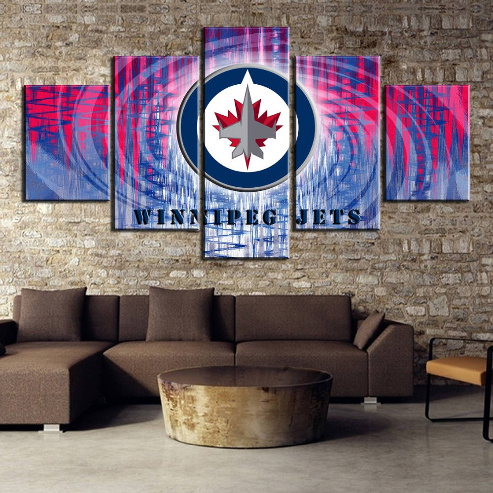 5 Piece Canvas Art Ice Hockey Sport <font><b>Poster</b></font> <font><b>Logo</b></font> <font><b>Poster</b></font> Paintings on Canvas Wall Art for Home Decorations Wall Decor Unique Gift image