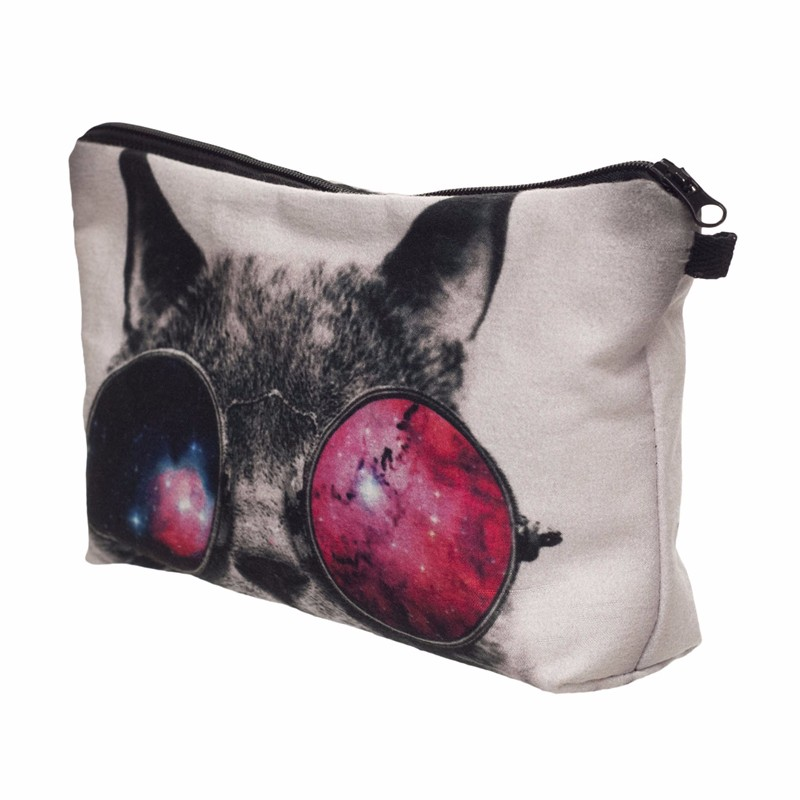 Galaxy Sunglasses Cat 3D Printing Makeup Bag
