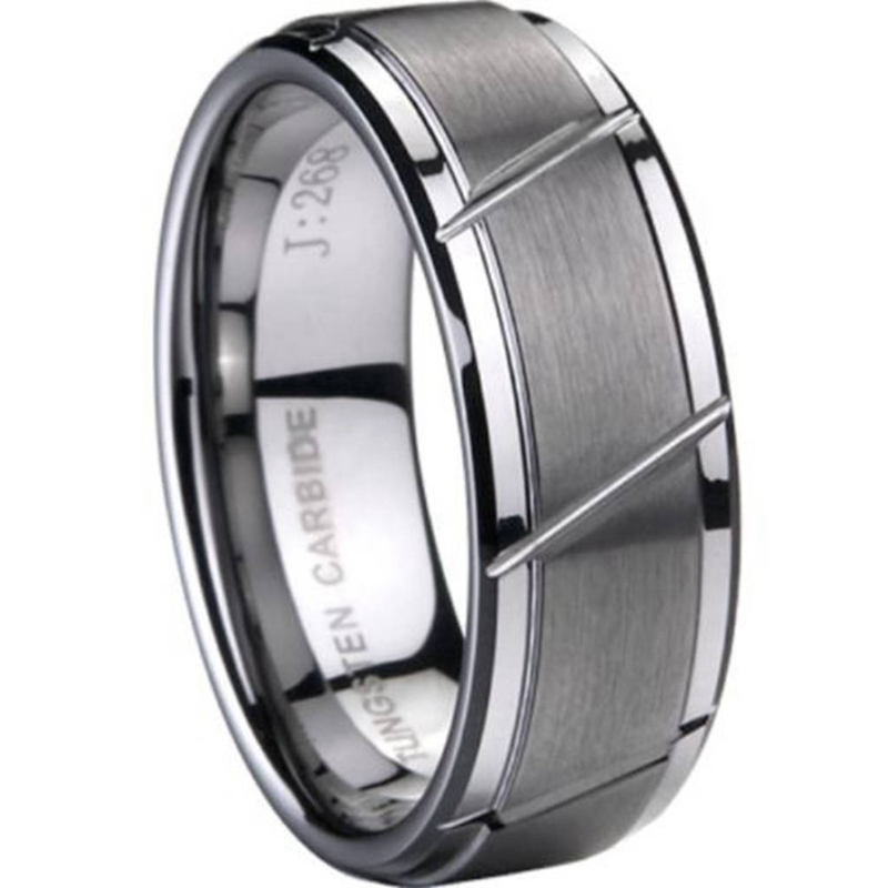 8MM Størrelse 7 til 15 TUNGSTEN Carbide Ring Børstet Matte Bryllup Engagement Grooved Enkel Enkel Klassisk Jubileums Cocktail