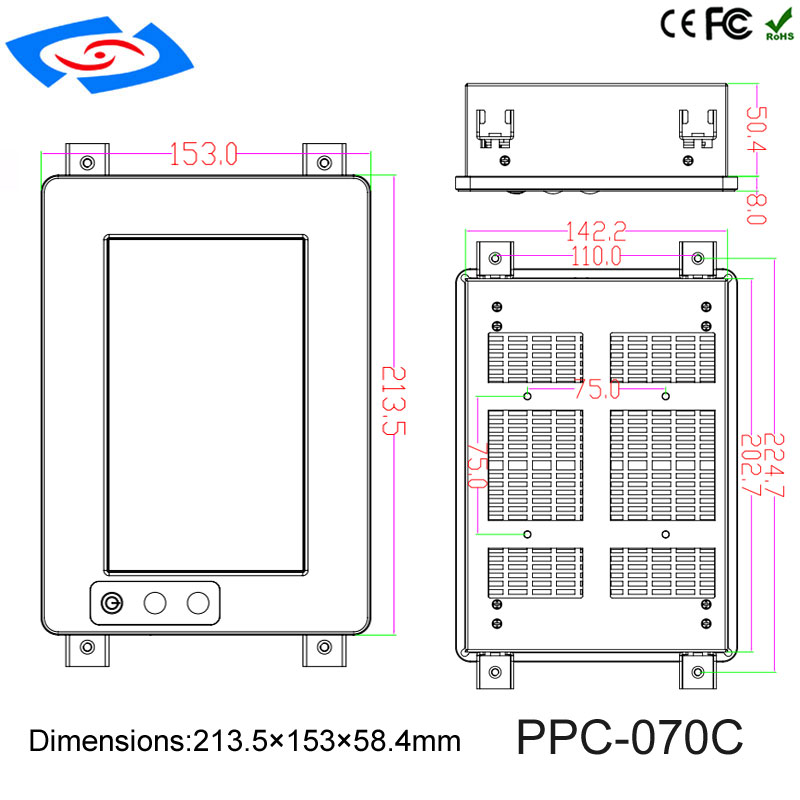 Купить с кэшбэком 7inch High Brightness Touch Screen Panel PC/Industrial Computer/Rugged PC With Resolution 1024*600 Application Hospital