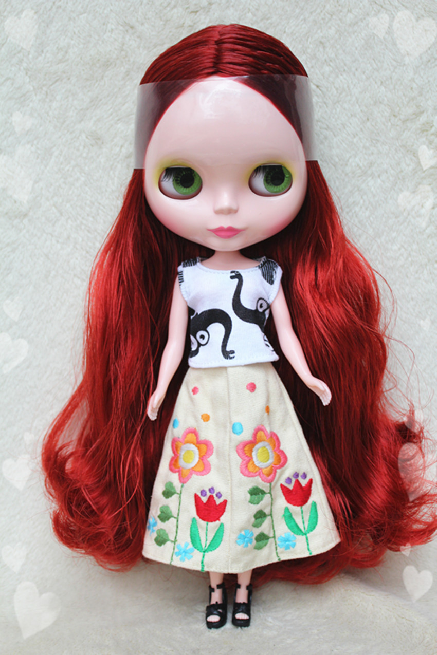 Blygirl Blyth doll Wine red hair No.8305 ordinary body 7 joints DIY doll for their makeupBlygirl Blyth doll Wine red hair No.8305 ordinary body 7 joints DIY doll for their makeup