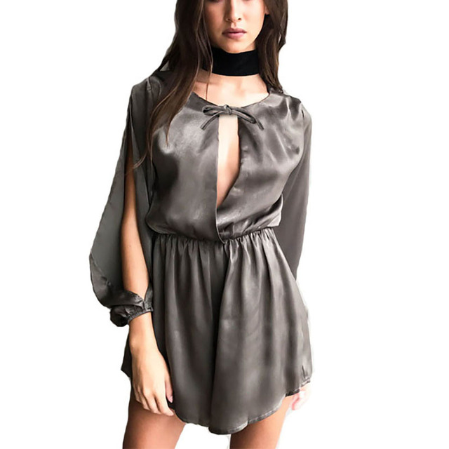 2eb088daa8 Women Summer 2017 Sexy High Grade Satin Jumpsuit Rompers Long Sleeve Front Bow  Tie Playsuit Casual