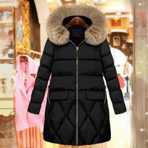 Mujer Femmes Long Mince Black D'hiver 5xl Capuchon Noir Fourrure Veste B988 Femelle Parka Manteau Coton De Rembourré Taille Plus 2018 Épais À wHa0Ap