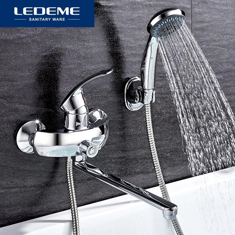 LEDEME Bathroom Bathtub Faucets Set Mixer Tap Hand Rainfall Sprayer Wall Mounted Bath Shower Sets Faucet Single Handle L2221