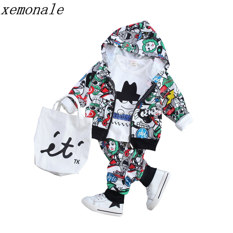 Baby Boys Girls Clothing Set Fashion Print Cartoon Casual Toddler Children Suit Kid Coat T-shirt Pants 3 Pcs Tracksuits 1-4 Yrs 2016 winter children s clothing set kids cartoon t shirt hoodie coat pants 3pcs suit baby boys autumn casual clothing