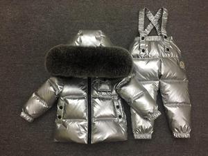 Image 2 - Детская стеганая куртка для девочек, верхняя одежда, детский серебристый костюм для мальчиков и девочек, детская зимняя пуховая куртка, парка для девочек, комплект одежды