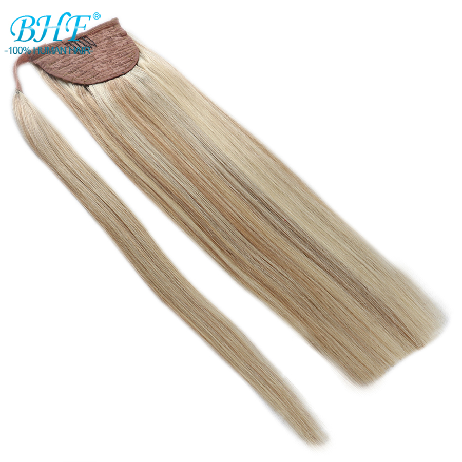 BHF Human Ponytail Hair Straight Russisk Remy Pony Tail Extension 2 # Mørk Brun 613 # Blond 120g 24inch Clip i Paryk