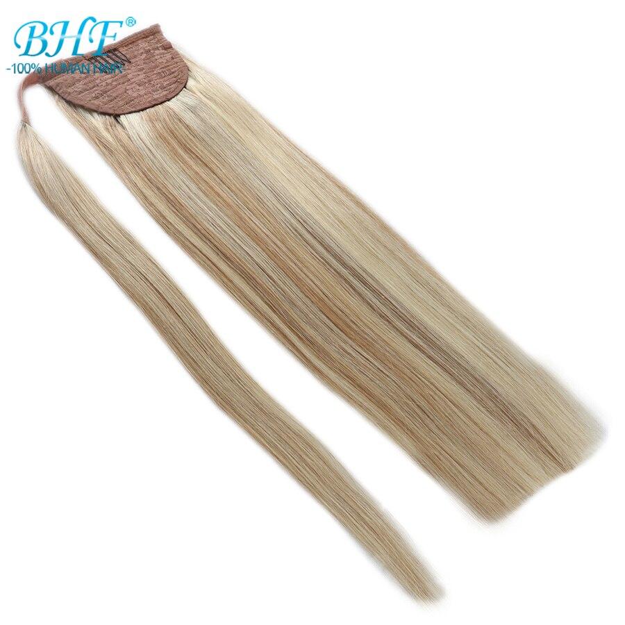 Bhf cabelo humano rabo de cavalo em linha reta russo remy pônei extensão da cauda 2 # marrom escuro 613 # loira 120g 24 polegada clipe na peruca