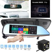 1080p FHD 7 Inch Touch Screen Dual Lens Car Reviewer Mirror Dash font b Camera b