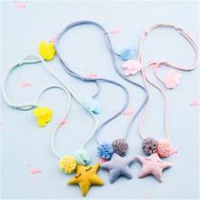 Korea Handmade Cute Fabric Cartoon Star Lace Flower Children Necklace For Girls Kids Apparel Accessories-HZPRCGNL028F