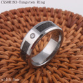 Beveled Zircon Inlayed Tungsten Ring With Black Carbon Fiber Can Custom Engrave Name