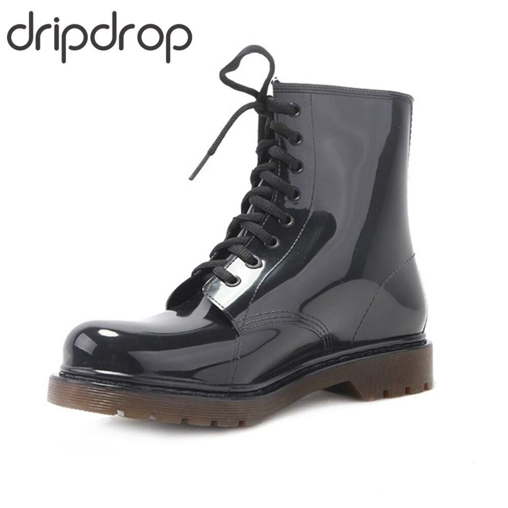 DRIPDROP Men Rain Boots Fashion Ankle Dress Shoes Martin Boots Lace Up Rainboots Full Seasons