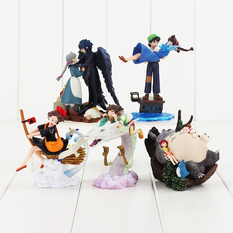 9-13CM 5pcs/lot Totoro Spirited Away The Castle in the Sky MIYAZAKI HAYAO Howl's Moving Castle Kiki's Delivery Service figure