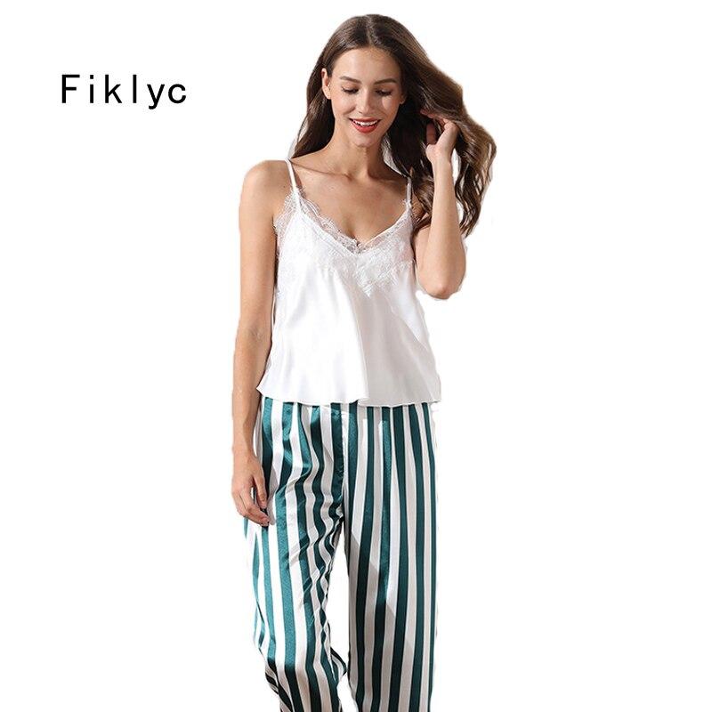 Fiklyc Underwear Sleeveless Long Pants Female Satin Pajamas Sets Autumn New Design Women Sleepwear Sets Striped Style Thin Style