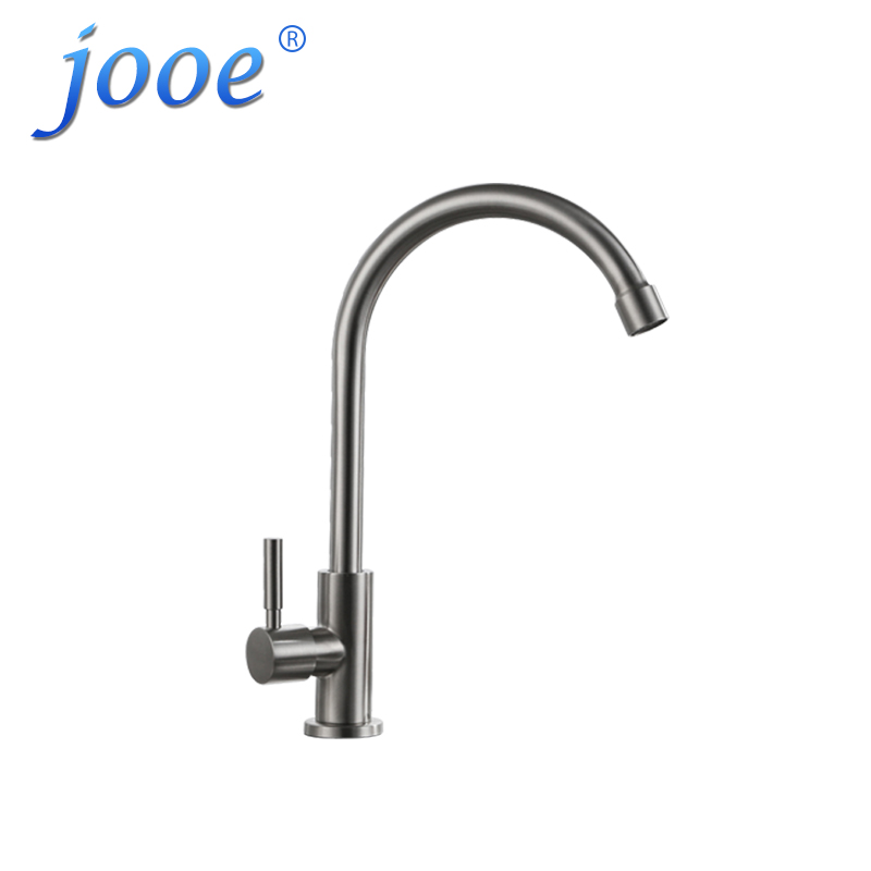 jooe Single cold kitchen faucet Stainless steel Brushed Deck Mounted kitchen tap sink faucet torneira de parede robinet cuisine okaros nickel brushed 304 stainless steel kitchen sink faucet deck mounted basin tap cold