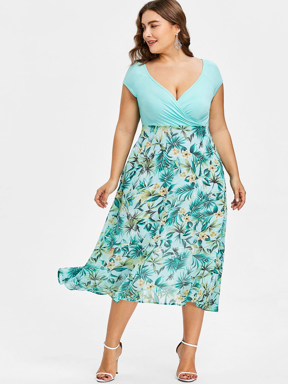 Gamiss Women Plus Size 5XL Tropical Floral Print V Neck A Line Midi Holiday Dress Casual Short