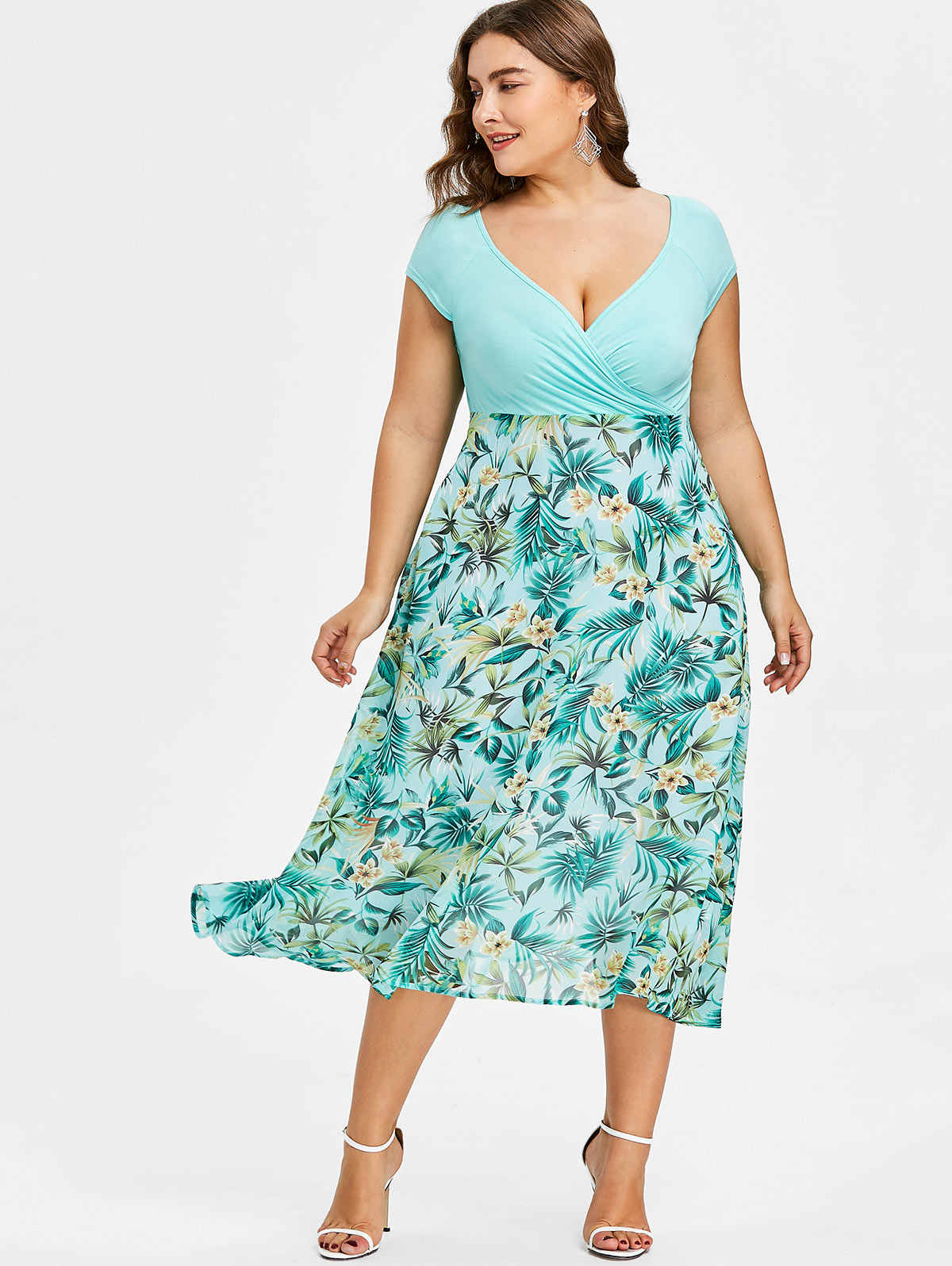 50940408db Gamiss Women Plus Size 5XL Tropical Floral Print V-Neck A-Line Midi Holiday