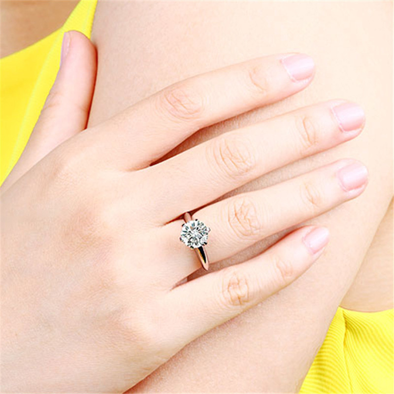 CC S925 Rings For Women Silver Color Wedding Ring Bridal Jewelry Round Stone Engagement Party Bijoux Femme Drop Shipping CC633 6