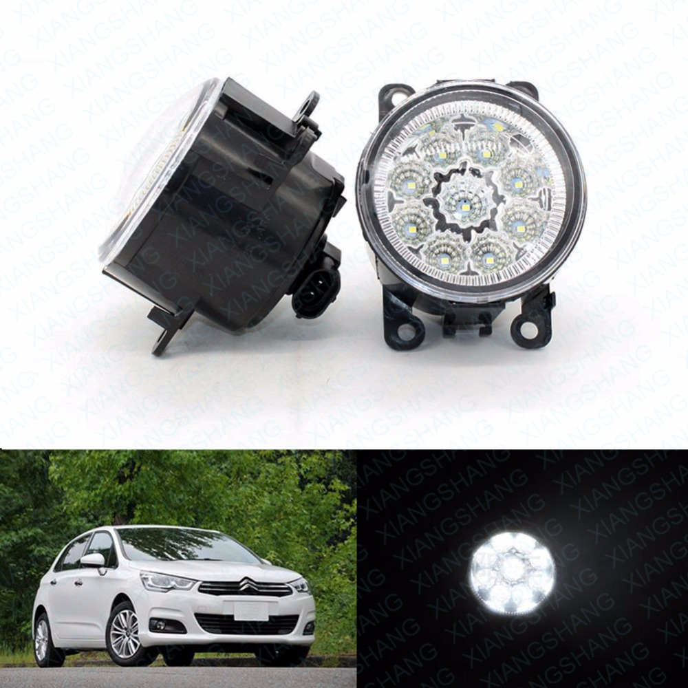 LED Front Fog Lights For CITROEN C4 Picasso UD_ MPV 2007-2013 2014 2015 Car Styling Round Bumper DRL Daytime Running led front fog lights for renault koleos hy 2008 2013 2014 2015 car styling bumper high brightness drl driving fog lamps 1set