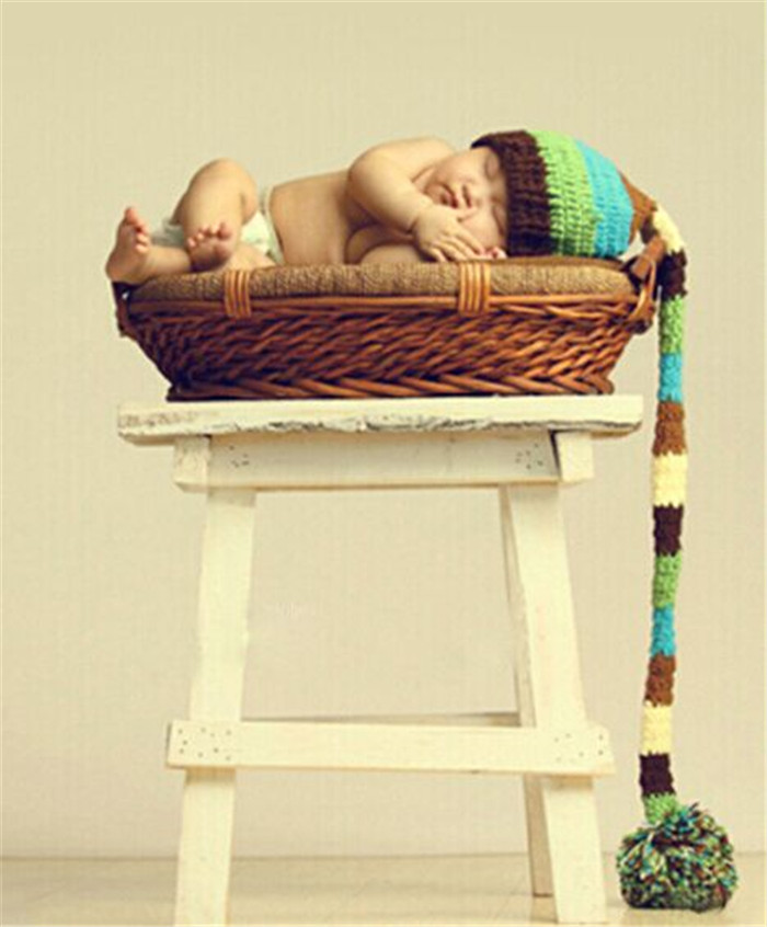Soft Cute Newborn Crochet Outfits Baby Hat Long Braid Photograpy Earflap Toddler for baby Knitted hat