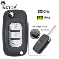 KEYECU 1x/ 3x 433MHz 4A Chip Replacement 3 Button Flip Remote Key Remote Car Key Fob for Benz Smart Fortwo 453 Forfour 2015 2017