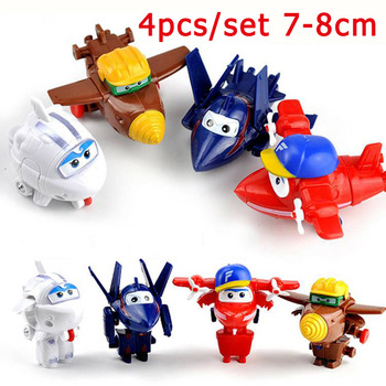 4/5pcs/set Mini Super Wing Fly Hero Planes Toys Deformation Transformation Jet Animation Action Figure PVC Birthday Gift